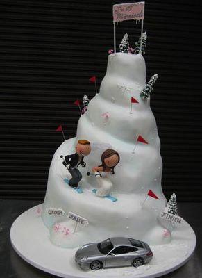 Top of cupcake wedding cake -- make waterslides instead of ski hill