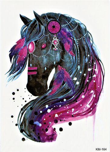 pferd feder reiten lila tier temporary tattoos animals