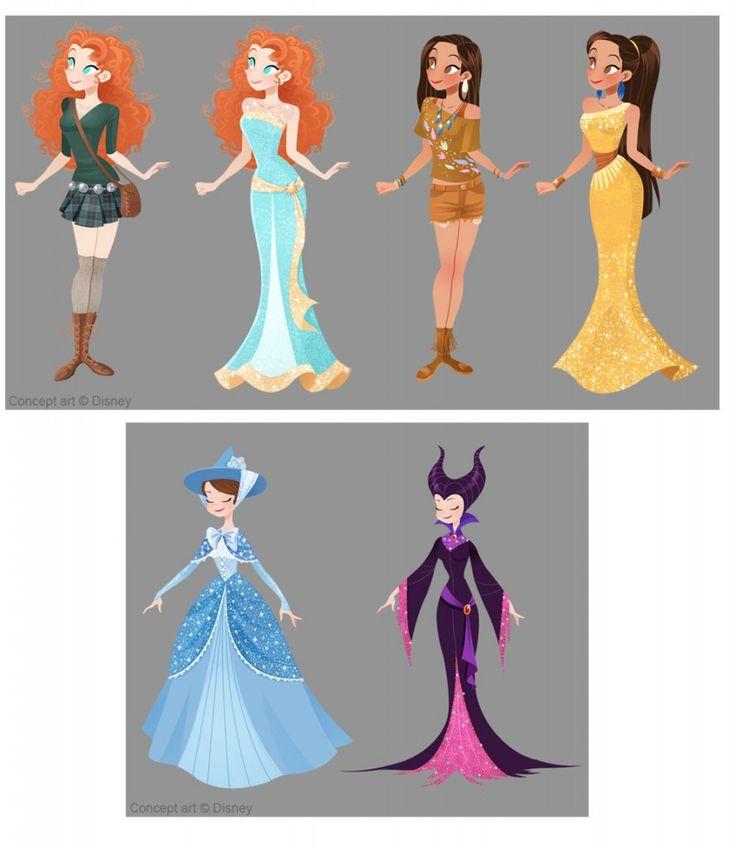 Merida, Pocahontas, Merriweather (I think?) and Maleficent