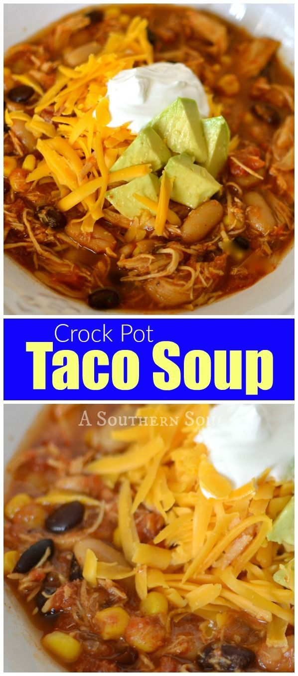 Low cost and LOADED with flavor! My crock pot taco soup is full of chicken, beans, corn and spicy, taco seasonings and makes enough to feel your family or a crowd.