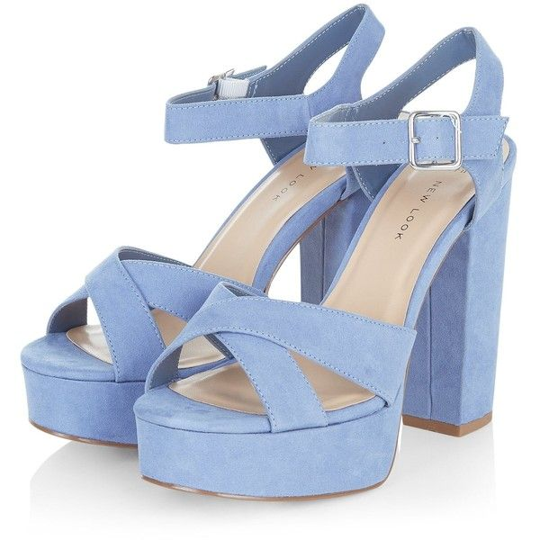 Wide Fit Blue Suedette Cross Strap Block Heels ($42) ❤ liked on Polyvore featuring shoes, sandals, heels, zapatos, blue, heeled sandals, blue shoes, blue sandals, block heel sandals and wide width sandals