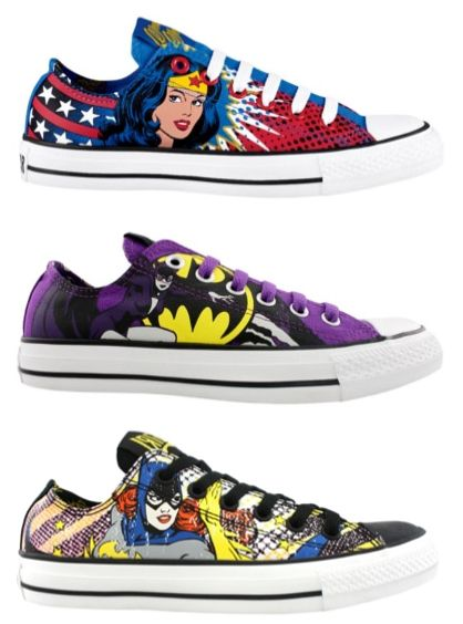 Converse + DC Comics  Oh My God WANT!!!!!!!!!!! (the Wonder Woman ones are my favorite; wish they had The Flash or Batman)