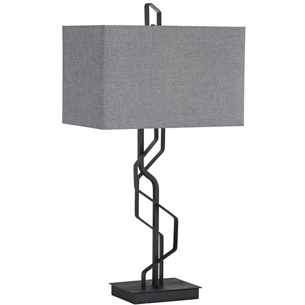 Kathy Ireland Studio Black Metal Table Lamp (10.035 RUB) ❤ liked on Polyvore featuring home, lighting, table lamps, black, rectangular lampshades, kathy ireland lighting, onyx lamp, black table lamps and kathy ireland