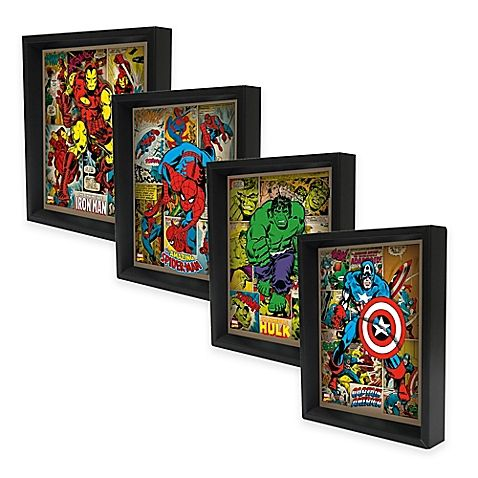 The Marvel Heroes 3D Lenticular Wall Art Collection is an awesome way to some superheroic style to any setting. The lenticular art and black dimensional frame give the look of depth and illusion of movement to the image inside.