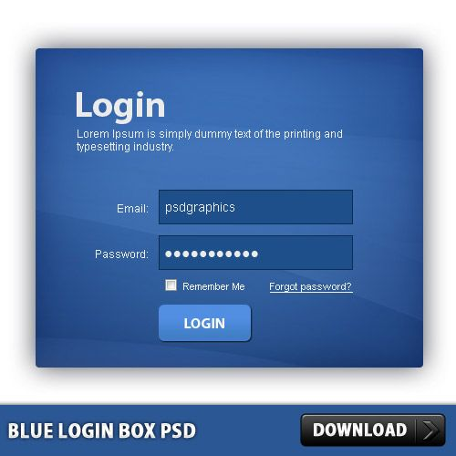 Download Free Blue Login Box PSD File Website Template With Skin Customizable HTML And CSS Source To Change The Background Color
