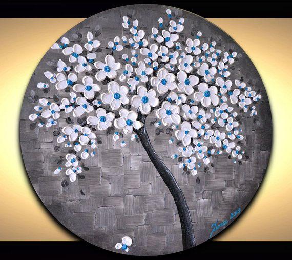 Metallic silver round wall art, white blue blossom tree painting, circle artwork, cool dorm room wall decor