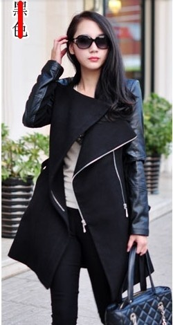 Black Contrast Leather Long Sleeve Zipper Trench Coat