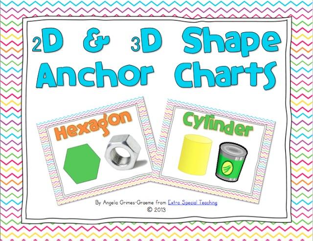 2d 3d Shape Anchor Charts Flash Freebie K 2 Math Anchor