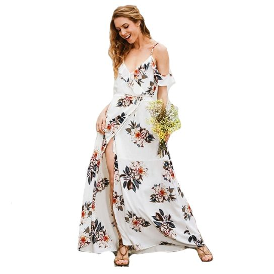 Own this beautiful Floral Maxi Dress digitally printed with sweet floral designs onto white polyester. Perfect for the Spring/Summer time