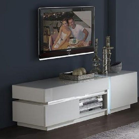Nicoli Lcd TV Stand In White High Gloss With 2 Drawer