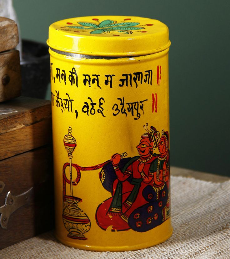 Phad Painted Tin Cookie Box