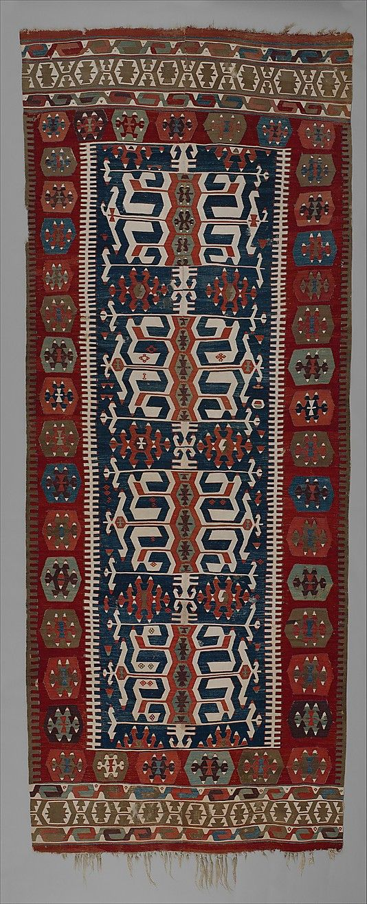Carpet Date: ca. 1800 Geography: Turkey Culture: Islamic Medium: Wool, cotton, and metallic silver thread Dimensions: 64 3/16 x 163 3/8 in. (163 x 415 cm) Classification: Textiles