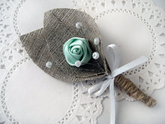 MINT GREEN Flower burlap Boutonniere buttonhole by BrightBride, $8.00- These are damn near perfect.