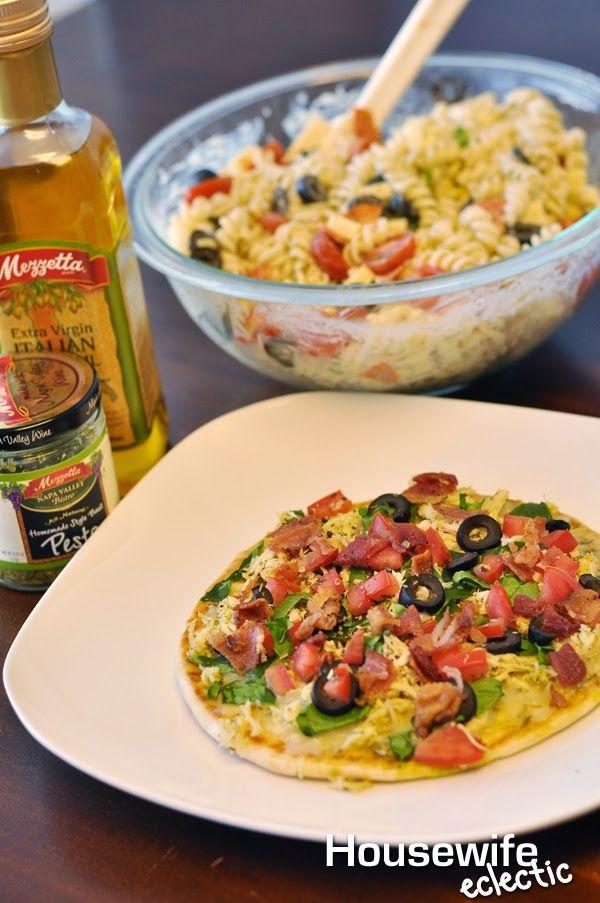 Housewife Eclectic: Pesto Pita Pizza and Creamy Pesto Salad with Mezzetta Memories