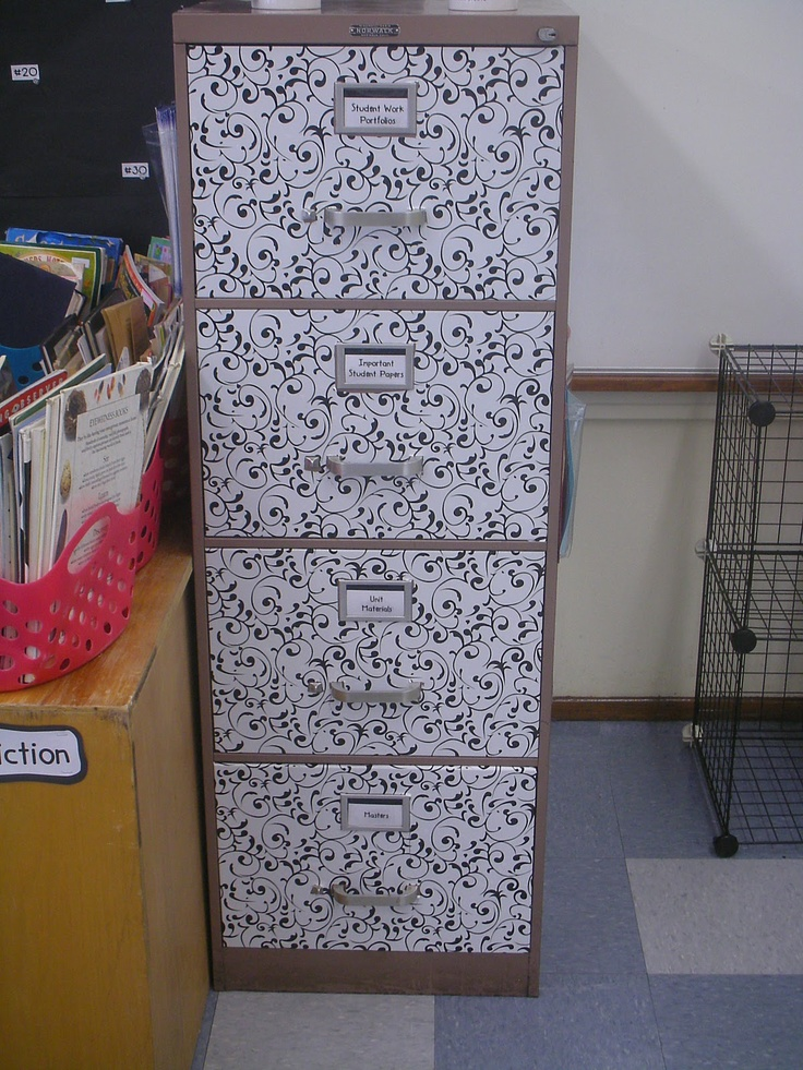 Classroom Cabinet Design : Spruce up an old metal file cabinet with contact paper