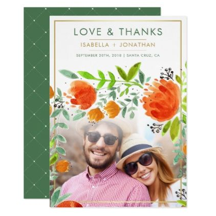 Watercolor Flowers | Spring Photo Thank You Card - elegant gifts gift ideas custom presents