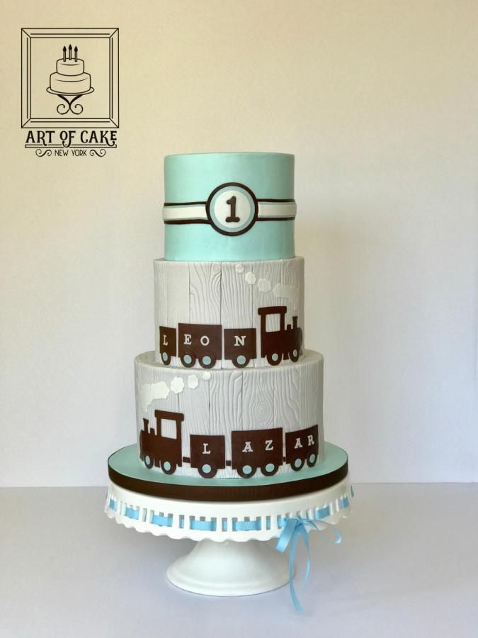 Coo-Coo Train Cake - Twin Boys 1st Birthday - Cake by ArtofCakeNY