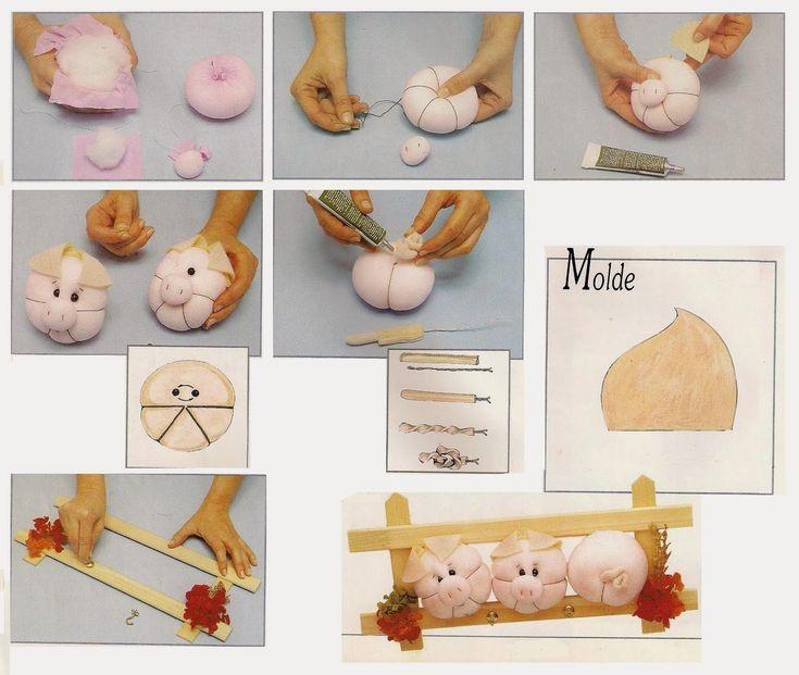 ARTE COM QUIANE - Paps, Moldes, E.V.A, Feltro e Costuras: Porquinho