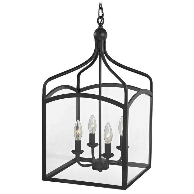 Perfect for the stairwell! Design Classics Lighting Preston Large Square Lantern Pendant Entryway Light 874-78