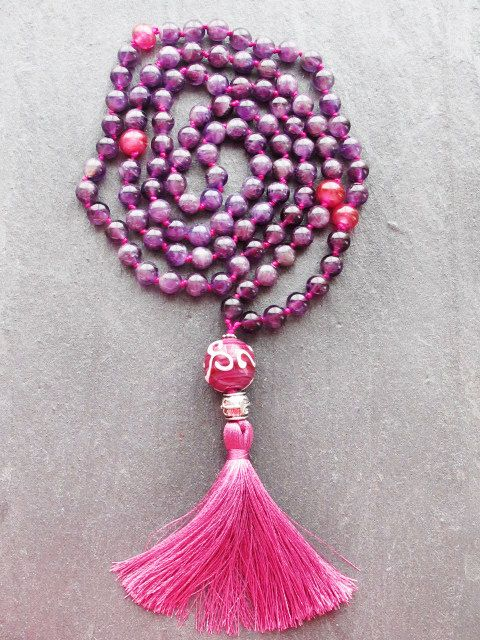Amethyst Knotted Mala Necklace 108 Prayer by GlassHouseLampwork