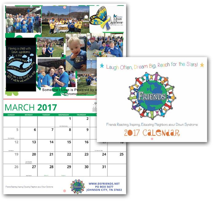 FRIENDS, 2017 Custom Calendar | Custom Calendar Printing, fundraising calendar, down syndrome awareness calendar, down syndrome awareness, f.r.i.e.n.d.s, support group calendar, custom photo calendar, awareness calendar, promotional business calendar, 2017 calendar, use your own photo calendar, www.valuecalendars.com