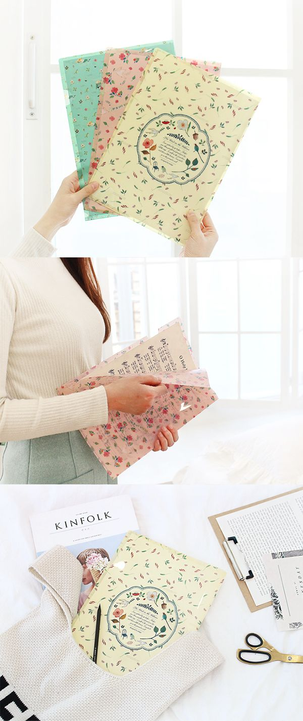 No more boring old file holders! Store papers and documents with this cute file folder that has an adorable patterns. It can hold A4 and letter size papers!