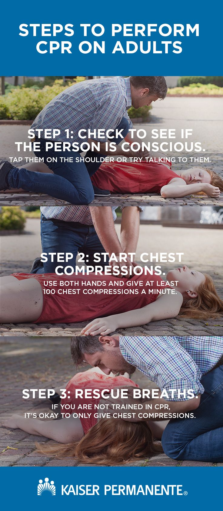 Cardiopulmonary resuscitation, or CPR, can help keep someone alive until a health professional arrives. Learn more information on performing CPR.