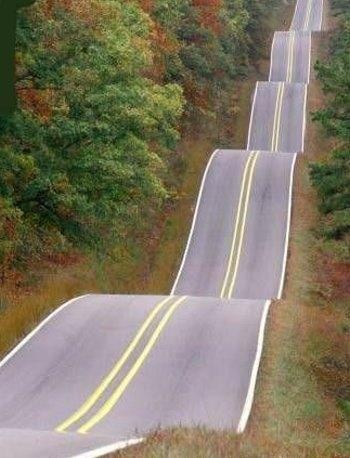 """Roller Coaster Highway, Tulsa, Oklahoma.  (The technical name of this road is """"County Road NS 366."""" It's one mile west of """"Old Highway 56, and about 1.5 miles west of State Highway 56, just north of Wewoka, Oklahoma.) I really wanna go there!!!"""