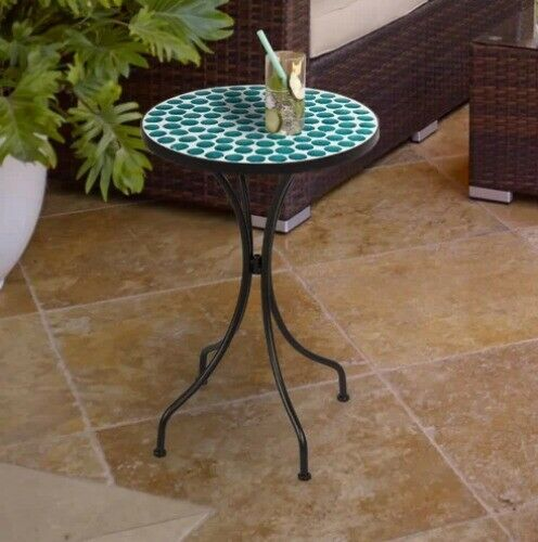 Outdoor Accent Table Mosaic Top Coastal Blue Iron Side End Patio Furniture Round Tinyshamrockusa Metal Side Table Outdoor Accent Table Outdoor Tables