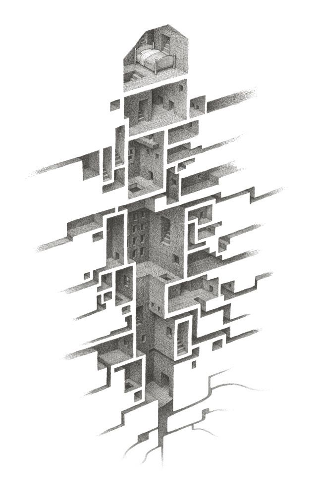 hiding placesMatthew Borrett, Hiding Places, Illustration, Art, Mathewborrett, Mathew Borrett, Room Series, Design, Architecture Drawing