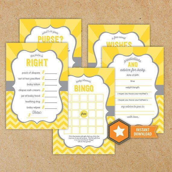 You Are My Sunshine Baby Shower Game Pack  by GraphicDesignbyBecky, $13.00