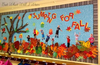 Jumping for Fall #bulletinboards #preschool #fall