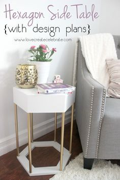 Make your own modern Hexagon Side Table! Tutorial and design plans included :)