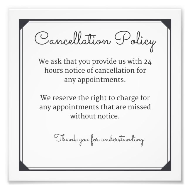 Cancellation Notices Salon Promotions Hair Salon Decor Salon