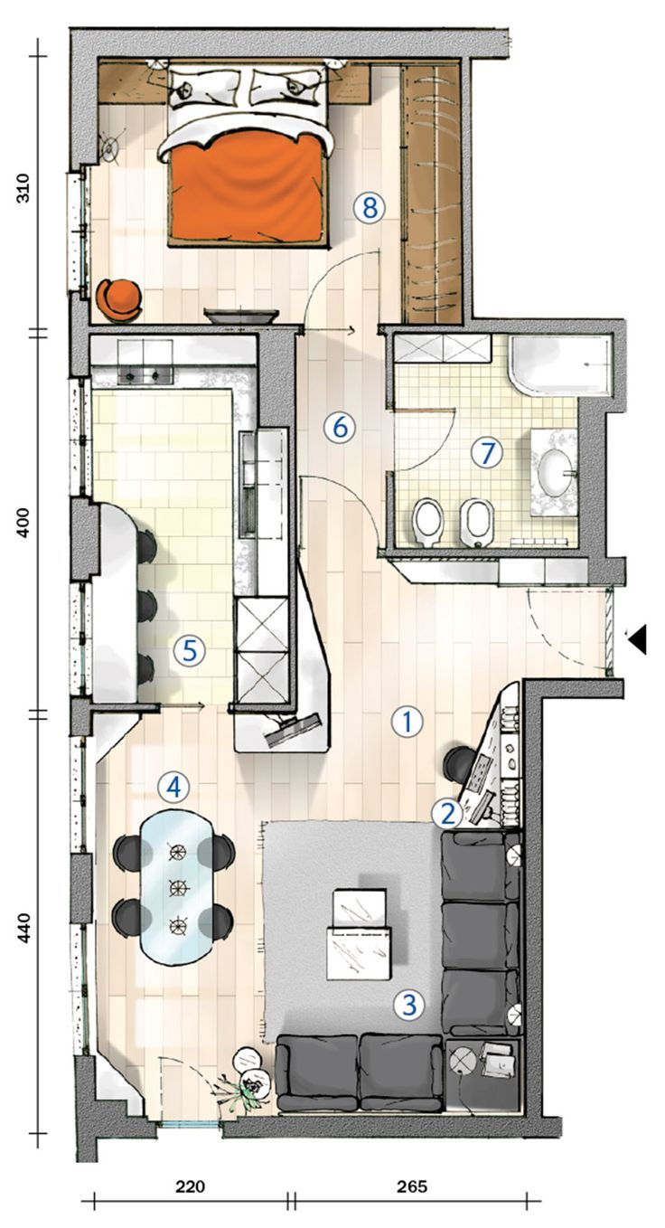 tiny flat with lots of window in kitchen and living room. tiny house plans. appartamento di 55 mq con tante finestre in soggiorno e cucina #tinyhouseplans
