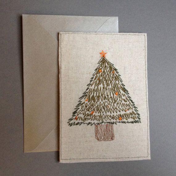 Christmas Card Machine embroidery from an original design at Etsy by BonitoFracaso #Dawanda #BonitoFracaso #Christmas-cards #Embroidery #Etsy