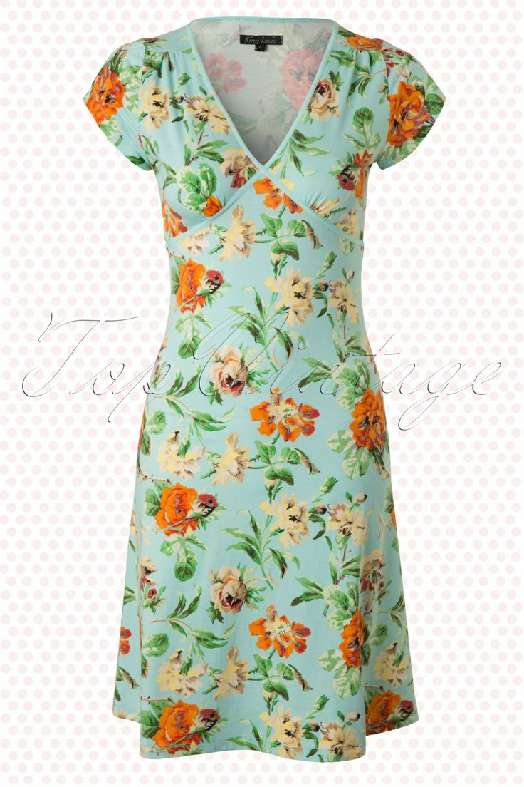 King Louie by TopVintage - 50s Rose Garden Bay Blue Cup Dress