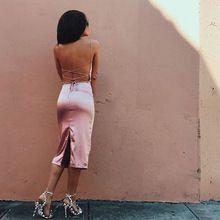 2017 Seda Senhora Sexy Clube Vestido Moda Praia Verão Backless Bandage Vestido Deslizamento Sólida Rosa Mini Vestido de Noite Dividir Vestidos alishoppbrasil