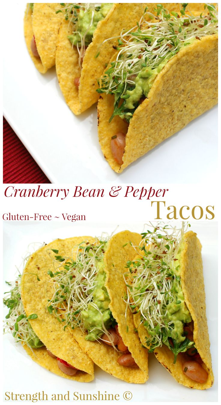 Cranberry Bean & Pepper Tacos | Strength and Sunshine @RebeccaGF666 Gluten-free, vegan tacos for a healthy meatless Mexican meal!