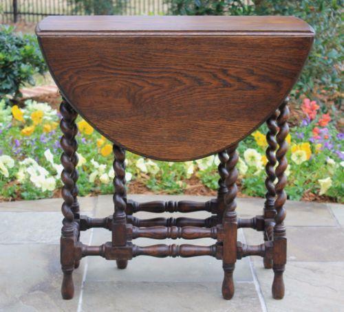 Antique English Oak Barley Twist Drop Leaf Table Oval Gate Leg Table Stretchers