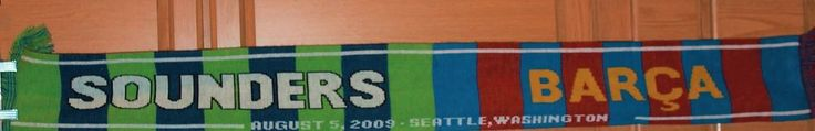 Seattle Sounders 2009 Barca Barcelona Scarf Double Sided Soccer Bold Colors! #RuffneckScarves #SeattleSounders