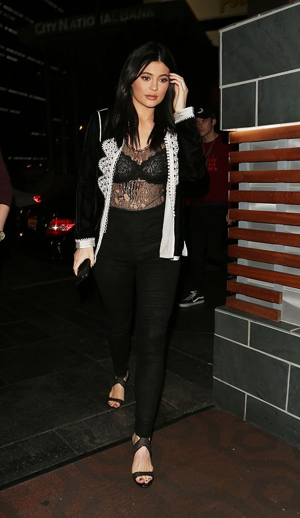 Kylie Jenner Flashes Bra & Cleavage Beneath See-Through Lace Shirt: See Her Daring Outfit
