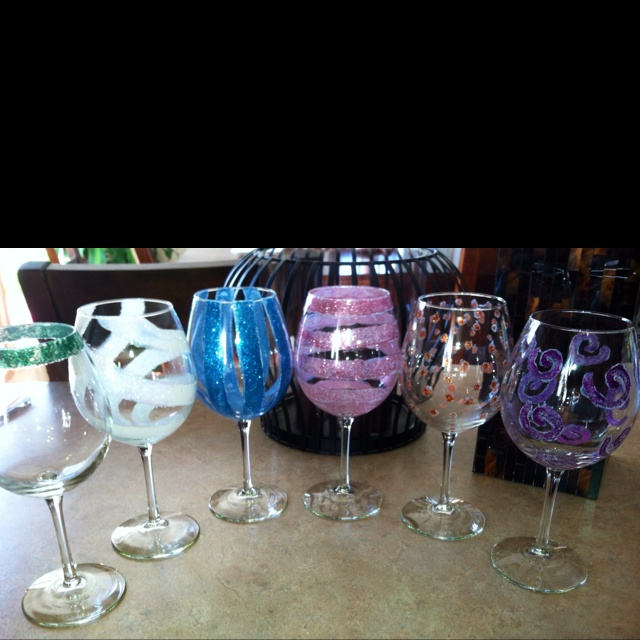 17 best images about diy wine glass decorating on How to make wine glasses sparkle