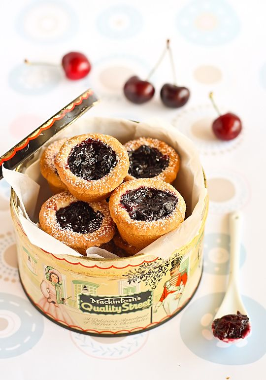 Cherry Pie Shortbread Bites - can use fresh or frozen cherries.  The shortbread recipe contains things I'm not sure where to find, but I'm guessing I can adapt a shortbread recipe?