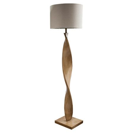 Diese Stehlampe mit einem kunstvoll gedrehten Holzfuß ist ein Hingucker in Ihrem Interieur. Neben der Couch oder auf einem Teppich platziert ist sie ein sty...