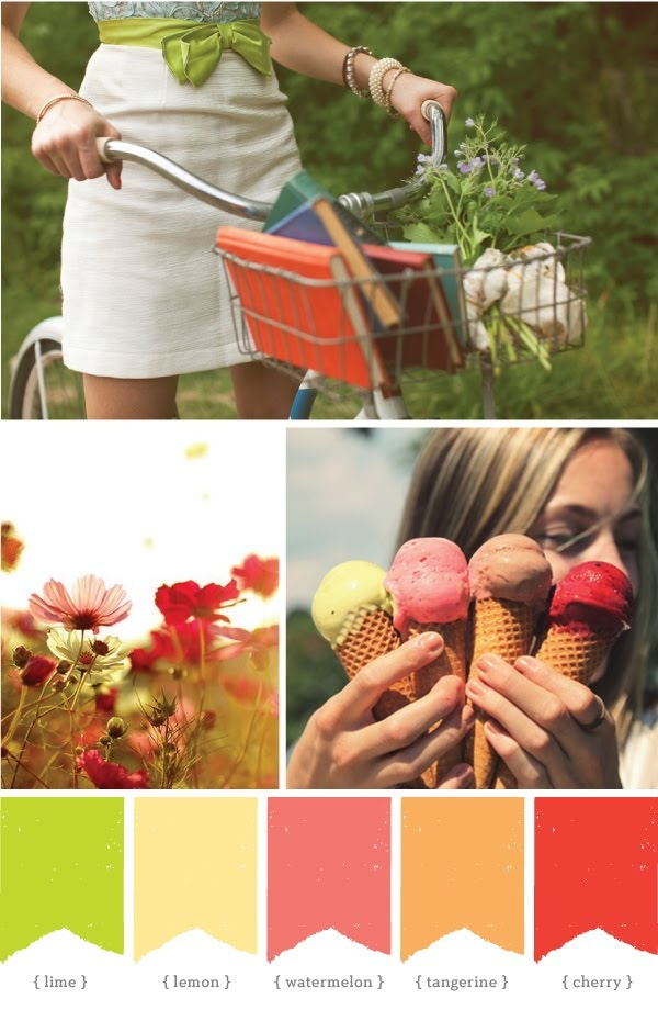 thinking spring: Colors Combos, Bike Riding, Summer Colour, Spring Colors, Colors Schemes, Bike Baskets, Summer Colors Palettes, Colors Boards, Colors Inspiration