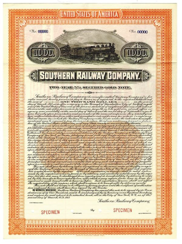 Southern Railway Co , 1917 Specimen Bond - Virginia  $1000 Specimen