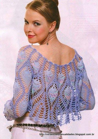 Oi amigas!   Navegando encontrei essa linda blusa em croche:           GRÁFICO 1         Espero que gostem!   Bjo   Veraxangai
