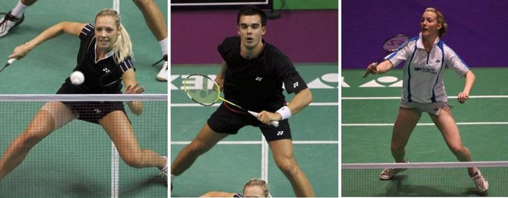 Badminton Players at Olympics | from left to right gabby white chris adcock and imogen bankier
