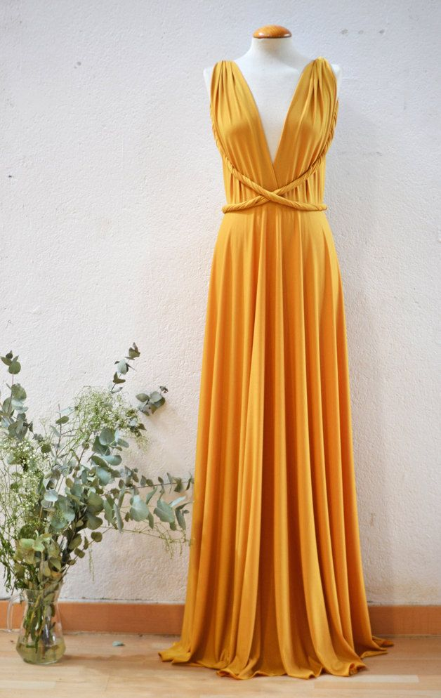 Vestidos de cóctel - Vestido Cocktail mostaza convertible largo - hecho a mano por Mimetik_Bcn en DaWanda #convertibledress #infinitydress #sustainablefashion #sustainable #fashion #longdress #maxidress #wrapdress #mustard #trendfw15 #fw15 #fall #color #event